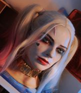 Harley quinn silicone bust, making sex toy