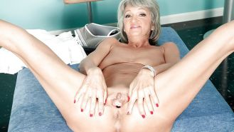 Hot silver haired gilf shows off her juicy pussy and fucks c