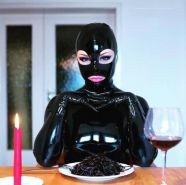 Drinking in latex  rubber or leather