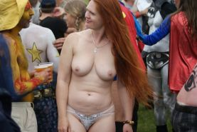 Fuckable hairy Ginger amateur MILF exposed public nudity